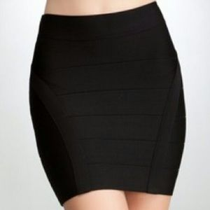 Bebe Princess Black Bandage Mini Skirt Zipper Sm